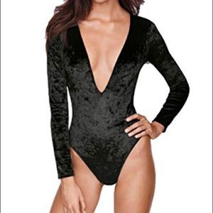 Victoria's Secret Crushed Velvet Plunge Bodysuit
